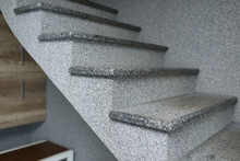 Stone Stairs Indoors. Concrete...