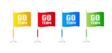 Go Team. Sketch Flag Banner On...