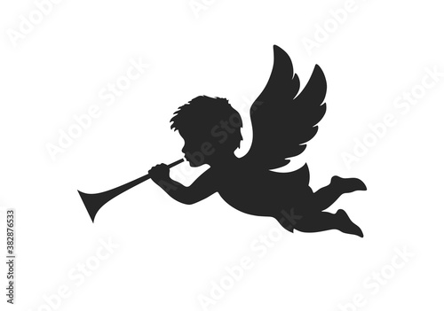 Tableau sur Toile angel icon. christmas day symbol. herald angel blowing trumpet