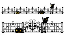 Halloween Theme Editable Vector Design Set Of Antique Gate And Fence With Jack O Lantern Pumpkin, Witch Cat And Spider