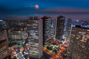 Tokyo city skyline at night with illuminated buildings and streets