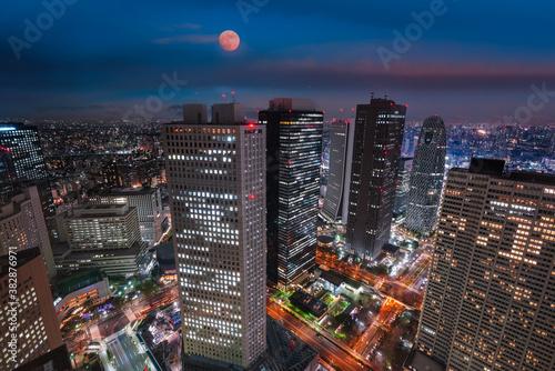 Fototapeta Tokyo city skyline at night with illuminated buildings and streets obraz