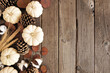 Fall side border of white pumpkins with muted brown autumn decor. Top view on a rustic dark wood background with copy space.