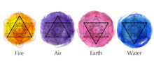 Set Four Elements Icons, Line, Triangle And Round Symbols Set Template. Air, Fire, Water, Earth Symbol. Pictograph. Alchemy Symbols Isolated On White Background. Magic Vector Watercolor Elements