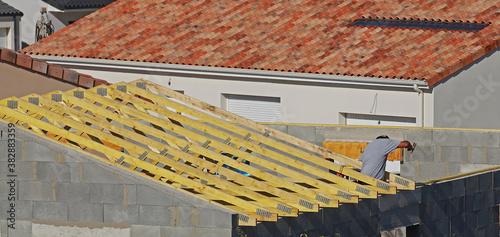 Fotografie, Obraz Construction d'une charpente en bois d'une maison