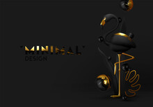 Black-gold Flamingos. Luxurious Abstract Minimal Design. Animal World Poster, Web Banner. Natural Background With Bird 3d Black Golden Metallic Flamingo. Modern Vector Illustration