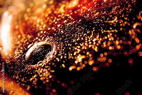 Fototapeta Orange, red and dark constellations of endless bubbles swirling into eternity