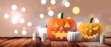 Halloween Banner. Pumpkins Lan...