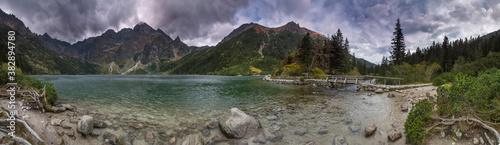 Panorama Morskie Oko 360 - Tatry Wysokie jesień burza - fototapety na wymiar