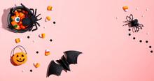 Halloween Theme Decorations - Overhead View Flat Lay