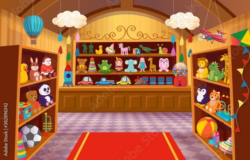 Toy shop with shelves of toys. Big set of colorful toys for children. Cartoon vector illustration.