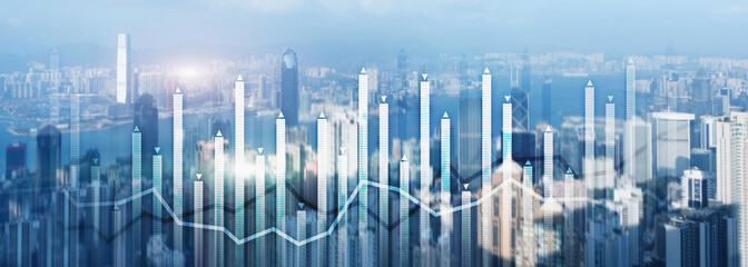 Financial growth chart graph diagram analysis big data trading investment concept. city view skyline website header banner double exposure.