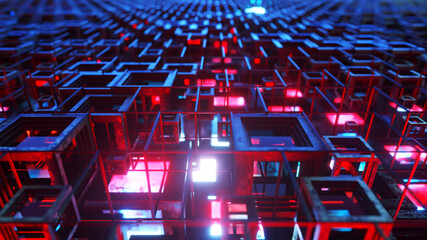 3d illustration of colorful glass rows of cubes floating through the prog, creating an abstract graphic background technology texture. Blue red color