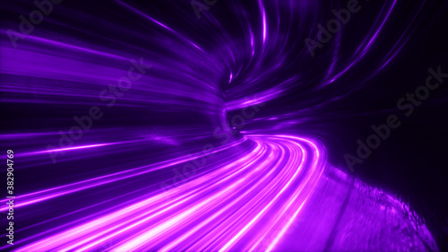 The speed of digital lights, neon beams moving through the tunnels of digital technology. Space time concept. 3d illustration
