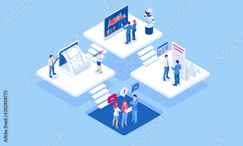 Fotografie, Obraz Isometric concept of business analysis, analytics, research, strategy statistic, planning, marketing, study of performance indicators