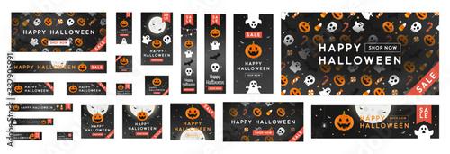 Fotografía Standard size ad banner complete set for Halloween sale