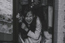 Mad Scary Girl In Cupboard At ...