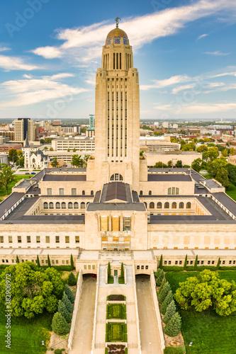 Fototapeta Vertical panorama of the Nebraska State Capitol