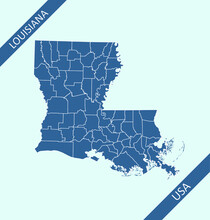 County Map Of Louisiana USA