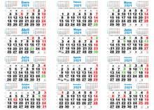Calendario 2021 Santos, Lunas, España