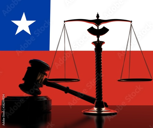 Fototapeta Backlit judge gavel and scales on flag of Chile background, 3d rendering