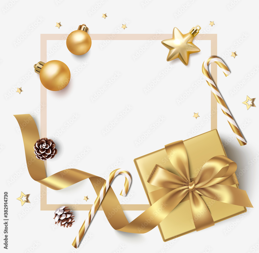 Fototapeta New Year and Christmas design template. Winter background with decorative golden balls, stars and gift box.
