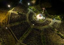 Aerial View Of Religious Gathering On Praça Dos Romeiros In Ceara, Brazil.
