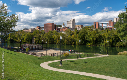 Photo Panorama of the river and city skyline of Fairmont in WV taken from the Palantin