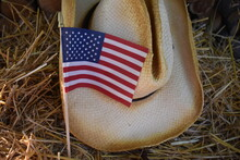 American Flag And Straw Hat