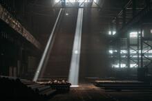 Beams In Old Industrial Building Or Warehouse