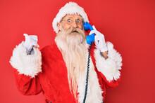 Old Senior Man Wearing Santa C...