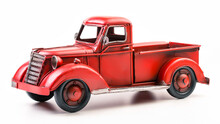 Red Pickup Truck. Old Vintage Metal Pickup Truck. Retro Car On White Isolated Background.