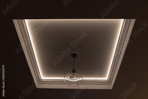 Decorative recessed ceiling with LED strip lighting (Secret Lighting) Fototapet