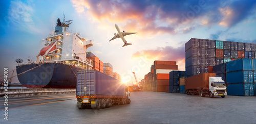Container truck in ship port for business Logistics and transportation of Contai Canvas Print