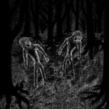 Two Figures Walk In A Dark For...