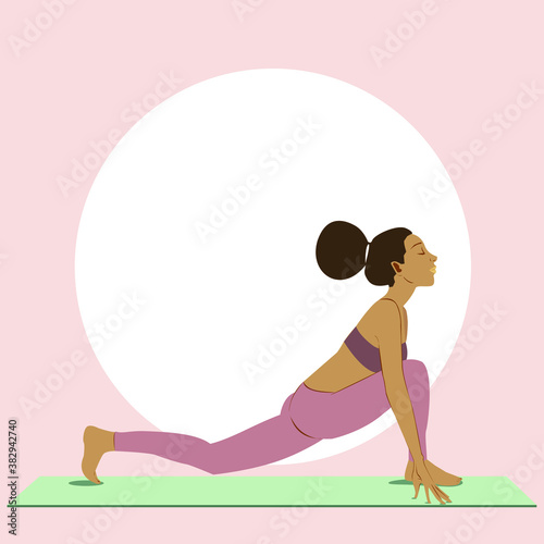 Fototapeta Black girl with afro hair practices yoga in equestrian pose