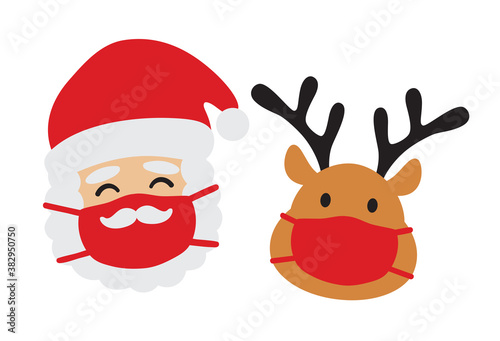 Vector illustration of Santa clause and reindeer wearing a face mask during the pandemic.