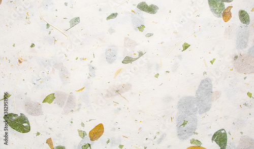 Fototapeta White Mulberry Paper with leaf texture background, Handmade paper horizontal with Unique design of paper, Soft natural paper style For aesthetic creative design obraz