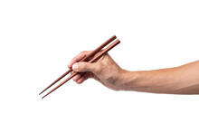 Hand Man Holding Chopsticks Is...
