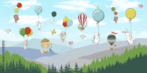 Children's photo Wallpaper, animals on balloons in the sky