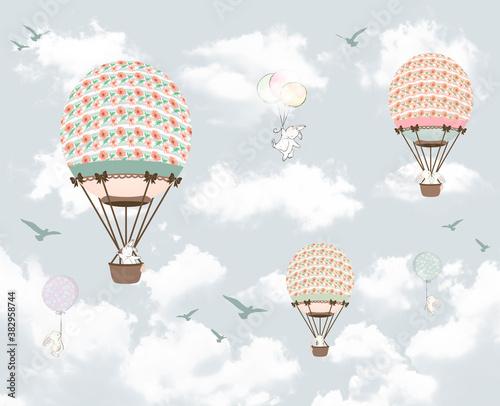 Obraz na płótnie z balonami w pastelowych barwach