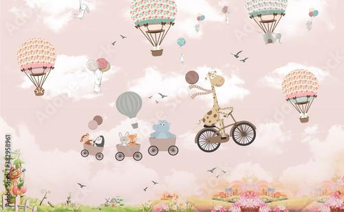 fototapeta-dziecieca-zwierzeta-na-balonach-na-niebie