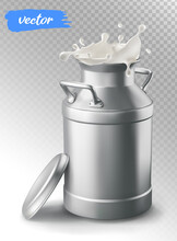 Milk Can Container And Milk Splash. 3d Vector Element For Package Design.