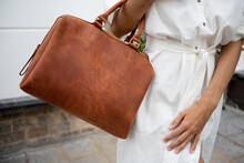 Skinny Woman In White Robe Dress Linen Natural Eco Wear With Leather Bag