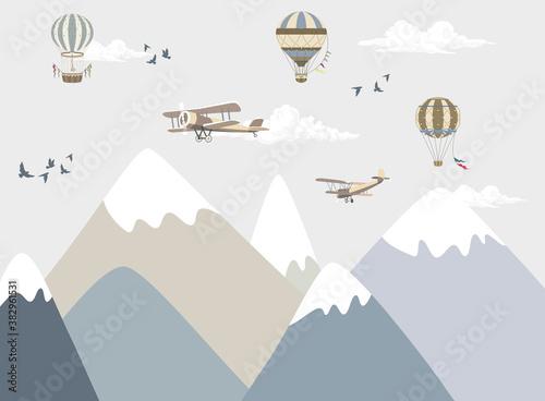 ilustracja gór dla dzieci, góry z niebem