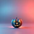 canvas print picture Happy Halloween day, lettering design with smiling pumpkin character on blue and pink background, Trick or Treat, 3d render.
