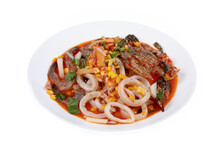 Spicy Mixed Seafood Isolated O...