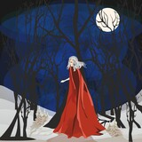 Fototapeta Do akwarium -  fairy-tale composition with trees and a woman who walks through the forest