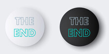 Line The End Handwritten Inscription Icon Isolated On Grey Background. Closing Movie Frame. Movie Ending Screen. Colorful Outline Concept. Vector.