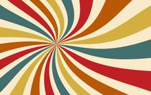 Retro Groovy Sunburst Background Pattern In 60s Hippy Style Grunge Textured Vintage Color Palette Of Yellow Blue Orange Red Beige And Brown In Spiral Or Swirled Radial Striped Starburst Vector Design